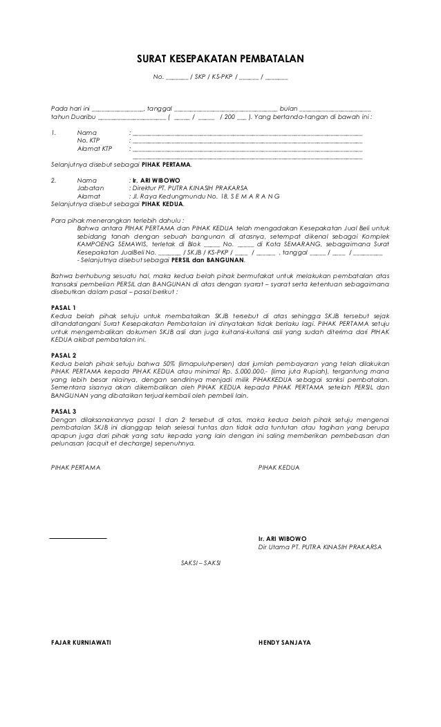 Contoh Surat Permohonan Pembatalan Akta Jual Beli Tanah