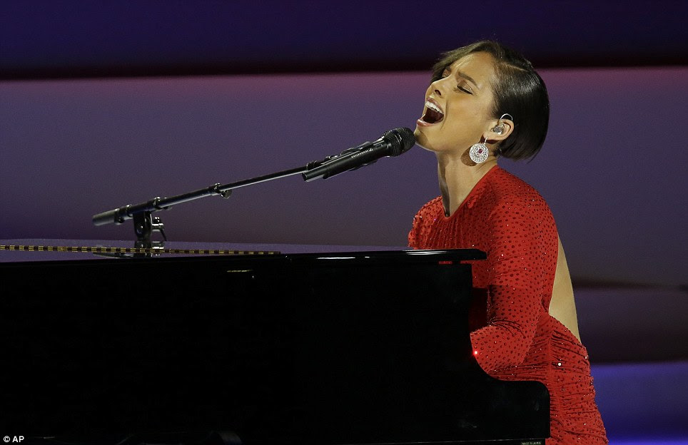 Star attraction: Alicia Keys performs at the Inaugural Ball in front of tens of thousands