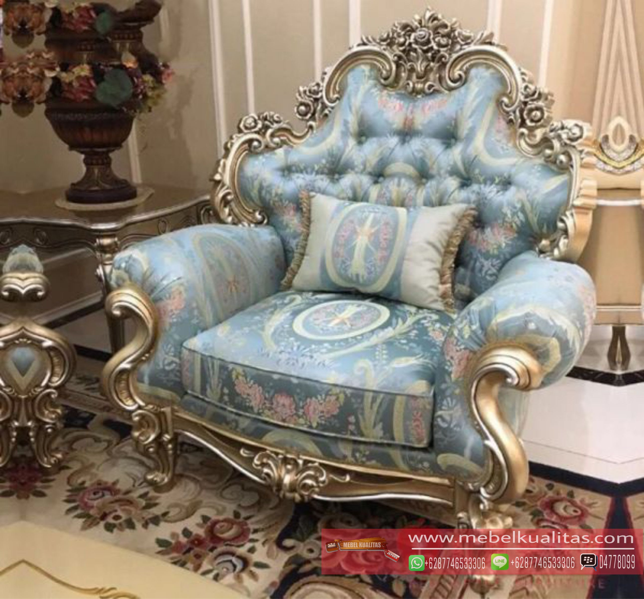 Sofa Luxury Mewah Armchair Terbaru MEBEL JATI UKIR KUALITAS JEPARA