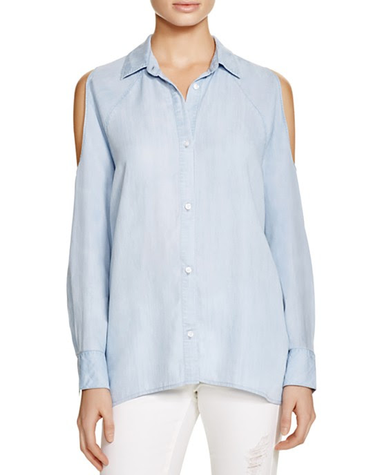 Rails Lana Denim Cold-Shoulder Shirt