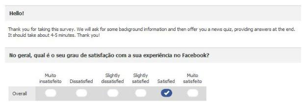 Facebook faz pesquisa sobre uso do site e sobre política (Foto: Reprodução)