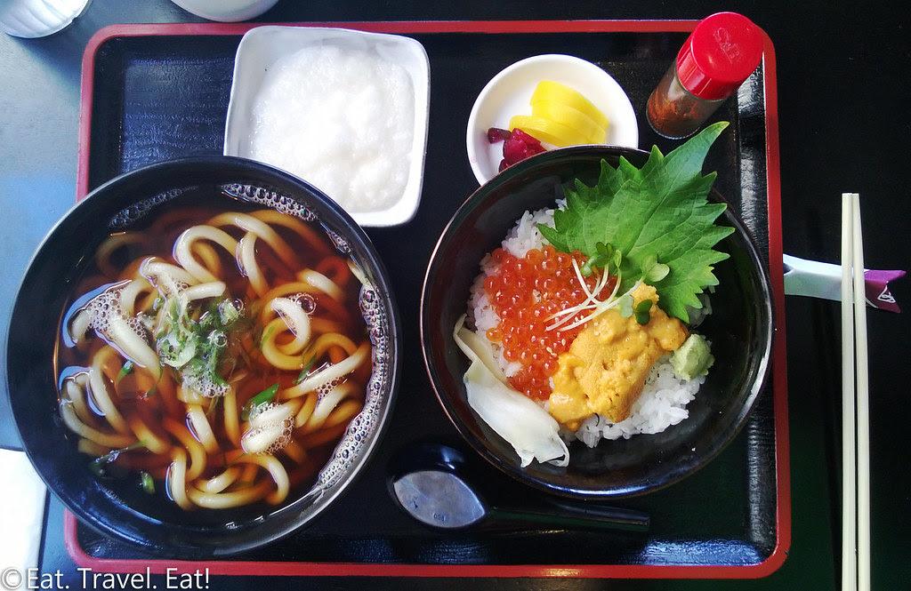Sagami- Irvine, CA: Tororo Udon (Hot) and Uni & Ikura Bowl Weekend Lunch Set