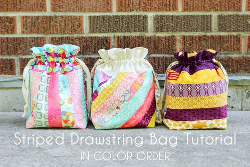 Striped Drawstring Bag Tutorial - In Color Order