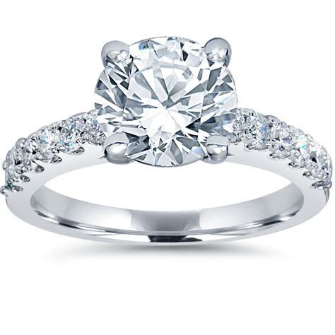 F/G SI 2ct Diamond Engagement Ring Solitaire W/ Accents