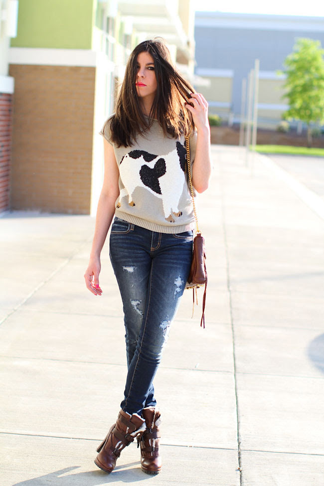 Cropped knit, Dolce Vita shearling boots, American Eagle jegging, Rebecca Minkoff leather bag, Cancan, Fashion outfit,