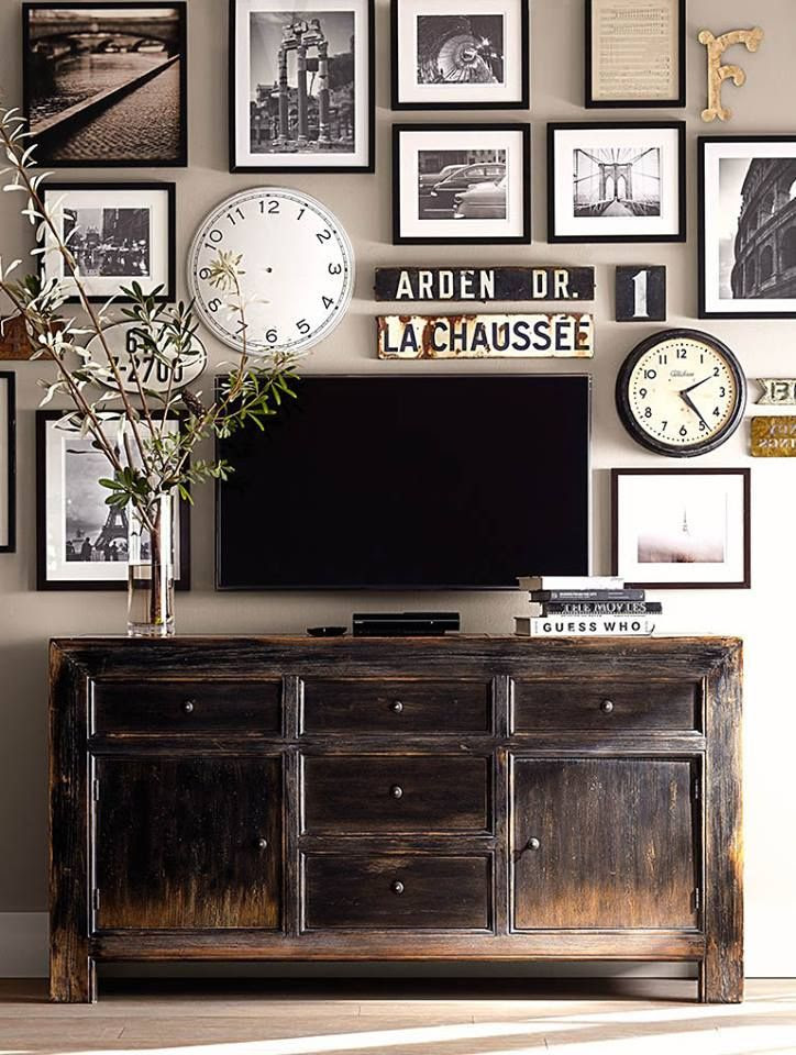 Dawson Media Console by Pottery Barn. Another pinner says What television? A clever eclectic wall grid idea.