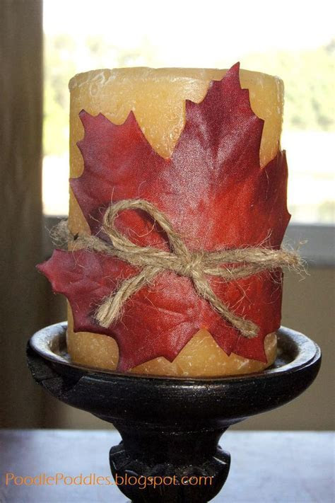 diy home decor fall   Decorative Leaf Candle. This would