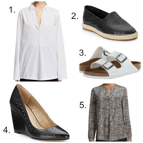 Acne Studios Poplin Shirt - Saks Fifth Avenue Leather Espadrilles - White Birkenstocks - BCBGeneration Wedge Pumps - Lafayette 148 Blouse