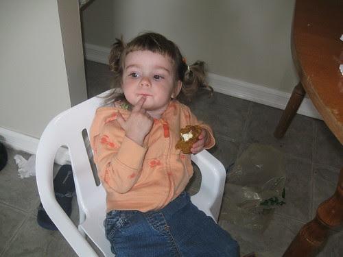 Ginny enjoying her muffin