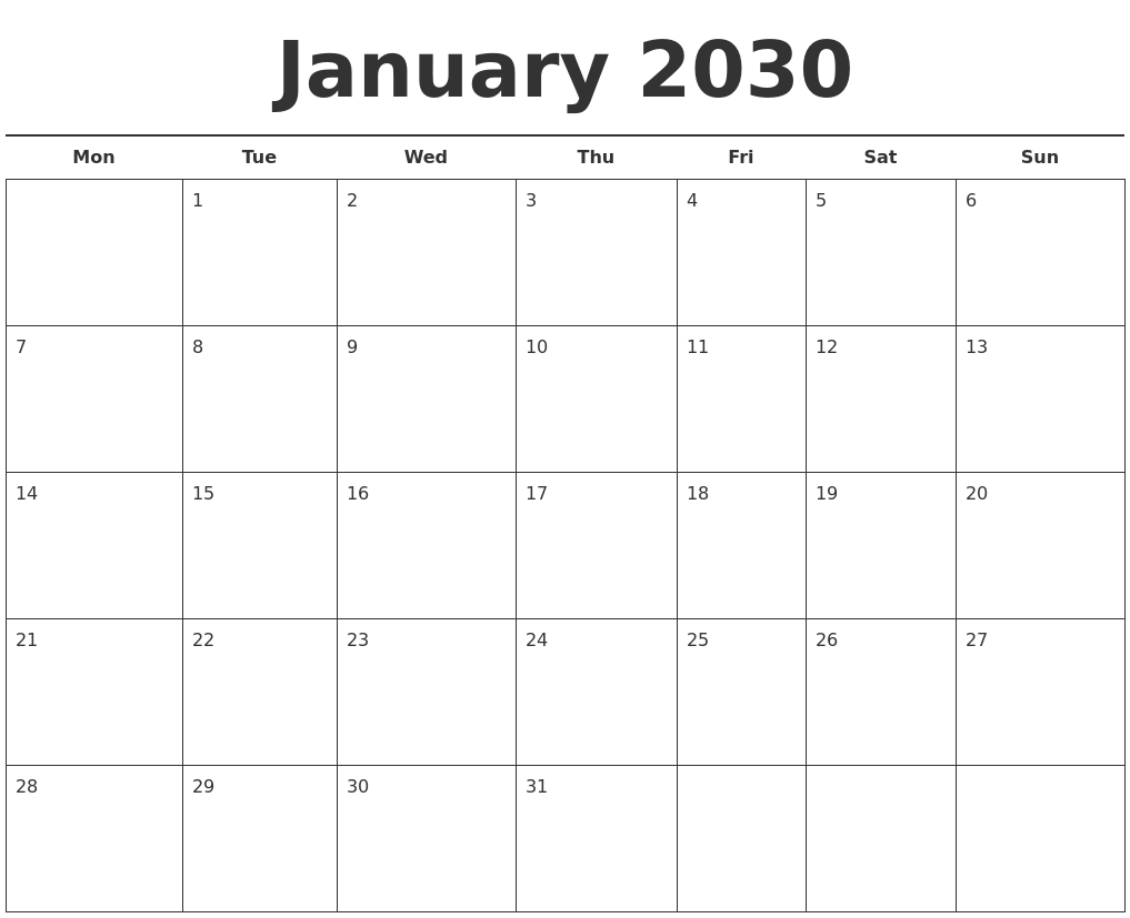 january 2030 free calendar template monday start