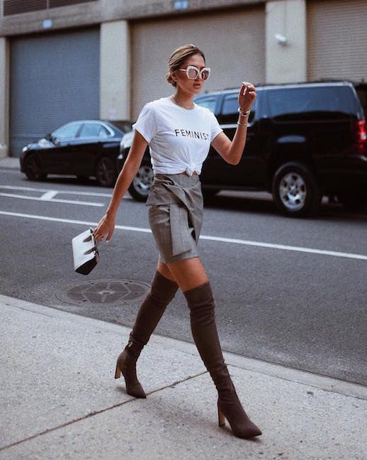 Le Fashion Blog Casual Chic White Sunglasses Feminist T Shirt Gray Wrap Mini Skirt Over The Knee Boots Via @fashionismyfortee