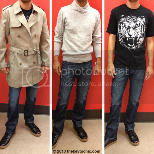 Phillip Lim for Target men's trench coat, tiger tee, and mock neck sweater