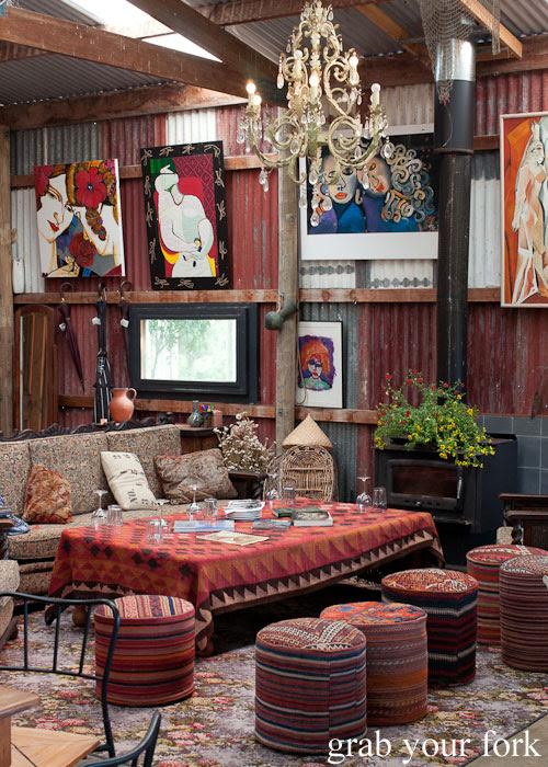 Lounges and artworks at Chapman River Wines cellar door, Kangaroo Island