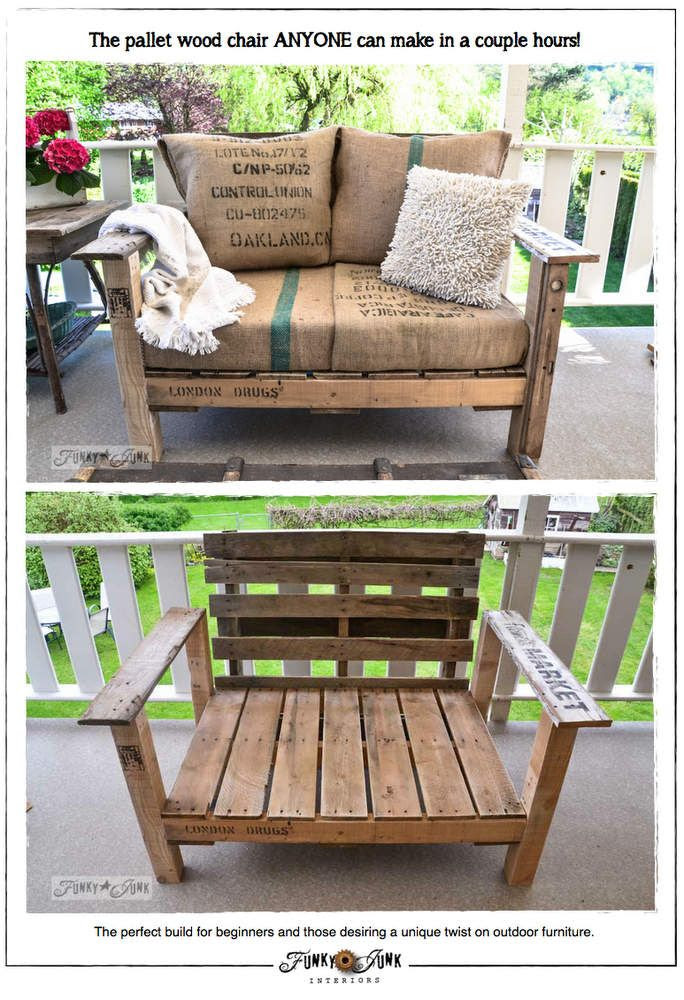 "DIY::"" A Cool Pallet Wood Chair Anyone Can Make"" !! by the fabulous @Donna - Funky Junk Interiors !"