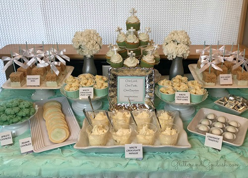 Teal White Silver Dessert Table For Baptism Glitter And Goulash