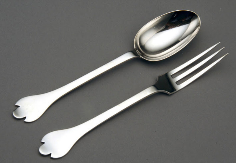 Leopard Antiques Silver Rattail Trefid Spoon And Fork Set