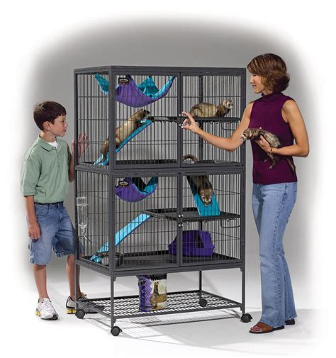 Amazon.com : MidWest Deluxe Ferret Nation Double Unit Ferret Cage (Model 182) Includes 2 leak