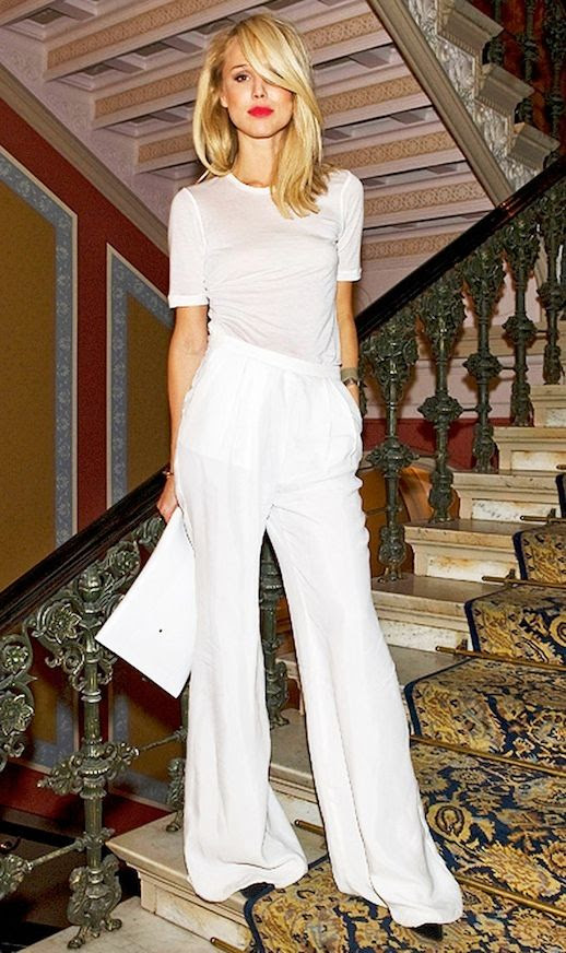 20 Alternative Wedding Looks Elin Kling White Minimal Tee Wide Leg Pants Bright Lipstick Non-Traditional Bride photo 5-20-Alternative-Wedding-Looks-Elin-Kling-White-Minimal-Tee-Wide-Leg-Pants-Bright-Lipstick-2.jpg