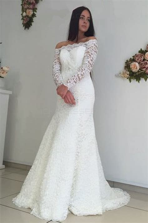 Long Sleeves Lace Off the Shoulder Mermaid Wedding Dresses