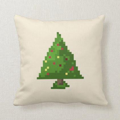 Geek Pixel 8bit Christmas Tree Throw Pillow