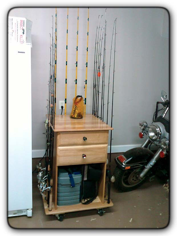 Here's our solutiona custom designed rod and tackle organizer: