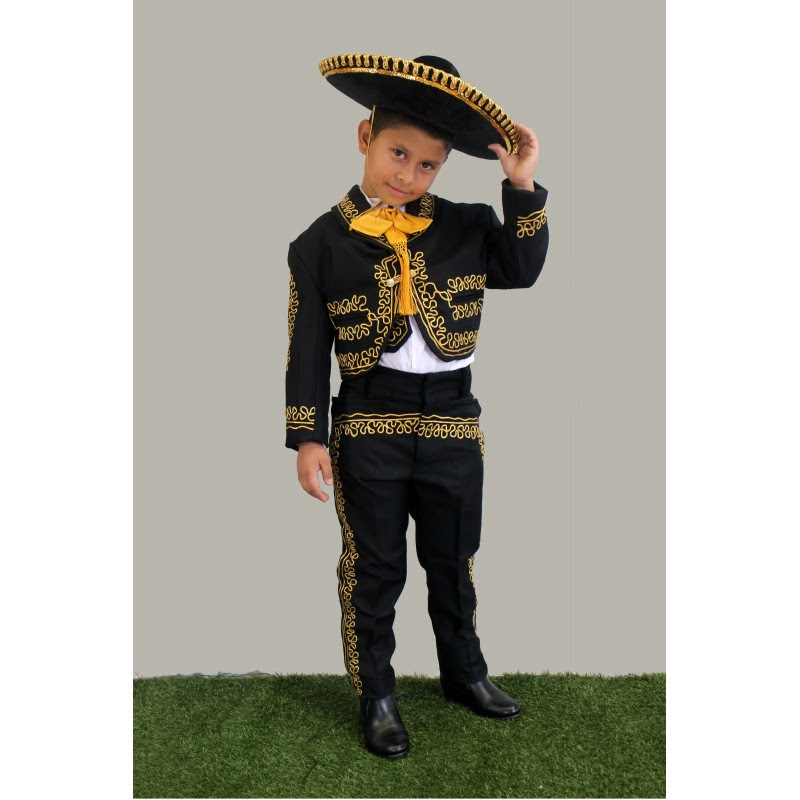 mariachi suit black wgold embroidery
