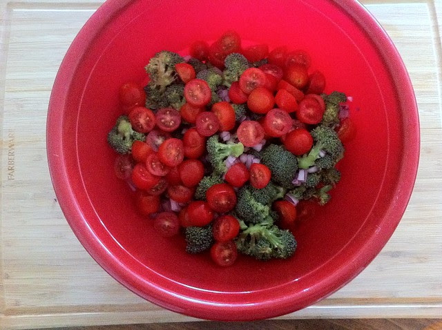 Halved Grape Tomatoes Added to Salad