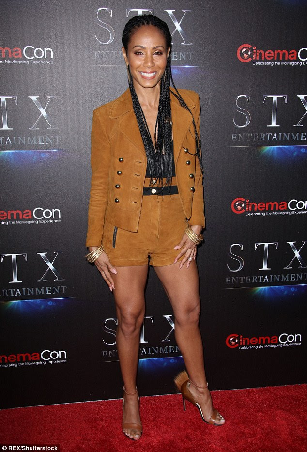Yee-haw: Jada Pinkett Smith looked hot to trot in brown suede co-ords as she made a stylish return to the red carpet at CinemaCon in Las Vegas on Tuesday evening