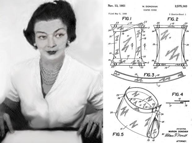 Insatisfeita com as fraldas de pano, Marion Donovan foi a responsável pelas primeiras fraldas descartáveis à prova d'água (Foto: Wikimedia Commons, Google Patents)