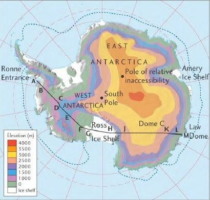 The Antarctic ice sheet. East Antarctica is much higher in elevation than West Antarctica