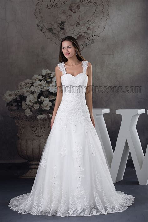 A Line Lace Sweetheart Beaded Lace Up Wedding Dress