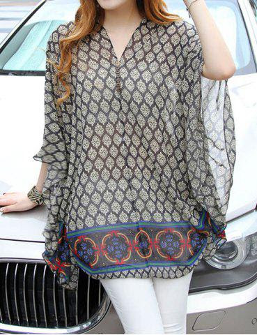 Plus Size Batwing Sleeve V-Neck Chiffon Women's Maternity Print Blouse