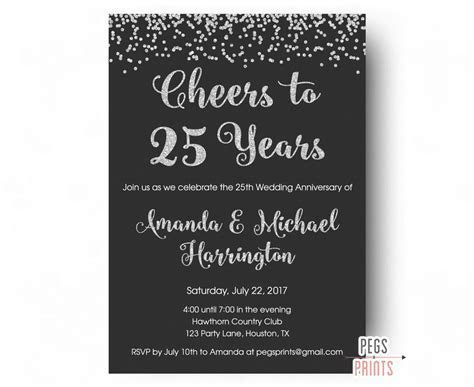 25th Anniversary Invitations   PRINTABLE 25th Wedding