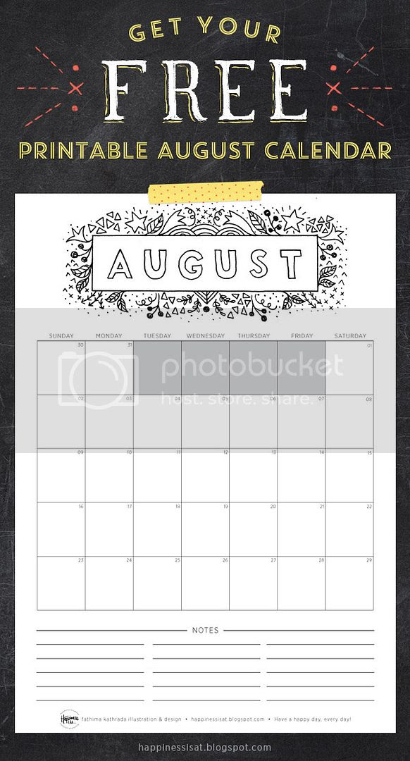 Happiness is... August 2015 Free Printable Calendar and Planner