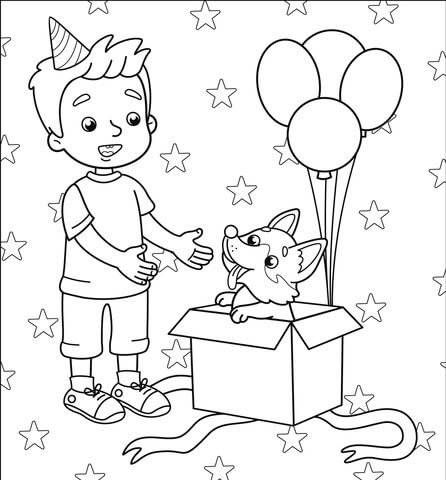 happy birthday with boy coloring page  free printable