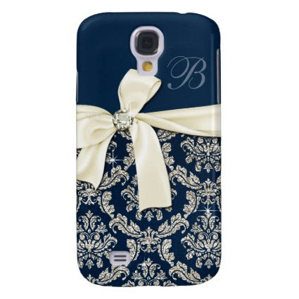 Elegant Blue Silver Damask Diamond Bow Monogrammed Galaxy S4 Cases