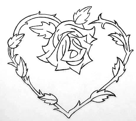 Heart With Ribbon Drawing At Getdrawingscom Free For Personal Use