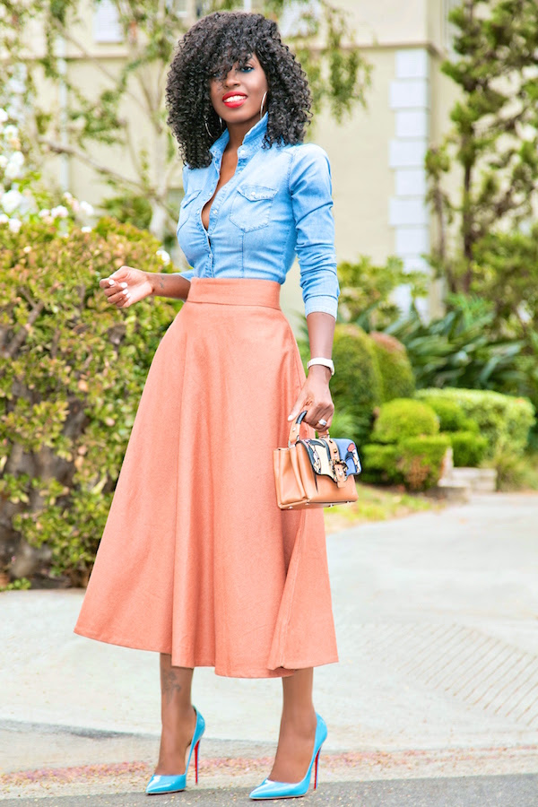 fitted denim shirt  midi swing skirt  style pantry