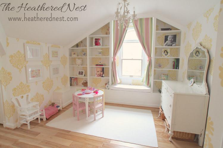 girls-yellow-bedroom-damask-wallpaper-from-www.heatherednest.com-1