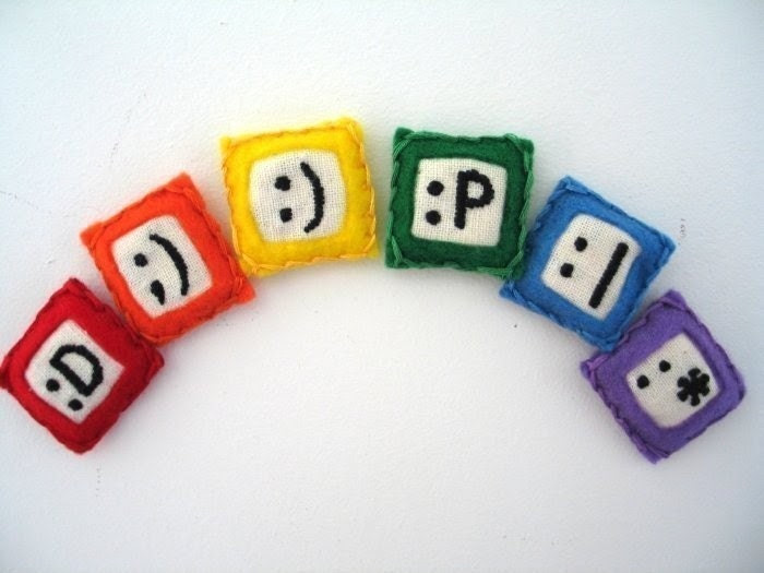 emoticon magnets, set of 6 - hand embroidered and totally geeky