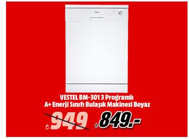 VESTEL BM-301 3 Programlı A+ Enerji Sınıfı Bulaşık Makinesi Beyaz 849TL