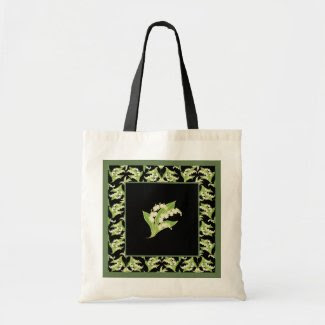 Chic Budget Tote Bag: Lilies of the Valley, Black
