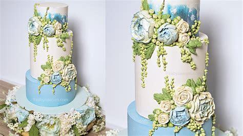 FREE 3 tier Buttercream Peony wedding cake decorating