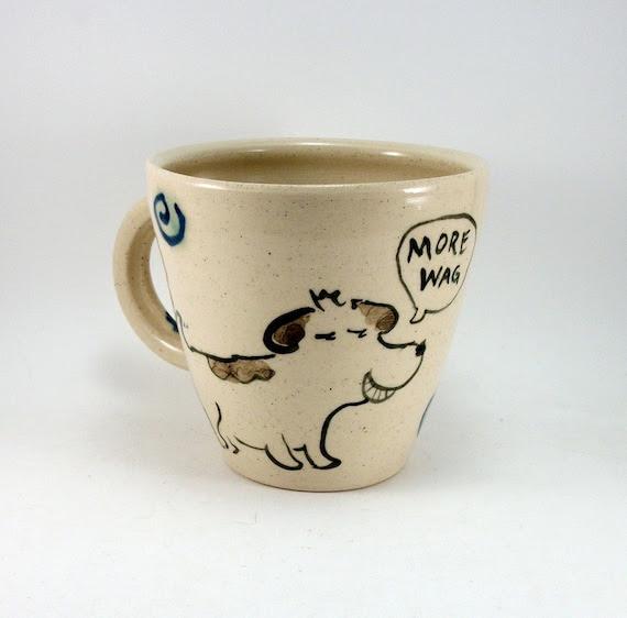 more wag less bark dog and cat mug