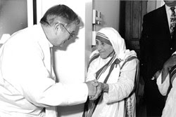 COURTESY TYRONE CEFALU - Mother Teresa with Father Donald McGuire, a convicted child molester who ministered to her nuns.