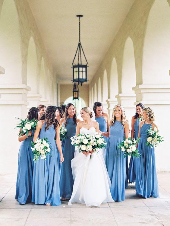 schöne robin-ei-Blaue Brautjungfern Kleider mit einem neckholder-Ausschnitt und einer maxi-Rock