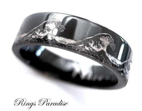 Mens Wedding Bands, Ocean Ring, Wave Ring, Mens Black
