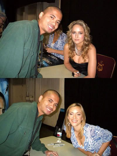 Posing with actresses Leelee Sobieski and Kristanna Loken.