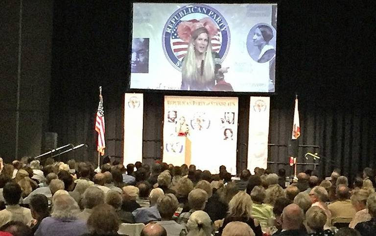 Ann Coulter speaks to a crowd at the Modesto Centre Plaze in Modesto, Calif., on Friday, April 28, 2017.