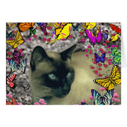 Stella in Butterflies Chocolate Point Siamese Cat Greeting Card